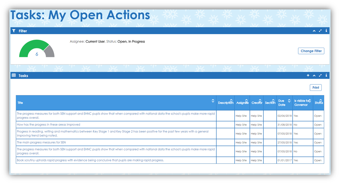 Open Action Task Page (Shadow)